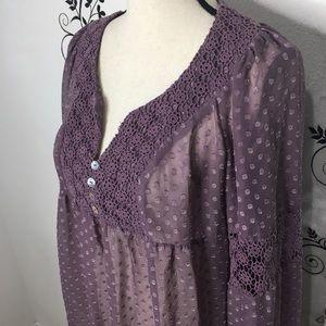 Daniel rainn purple sheer blouse medium